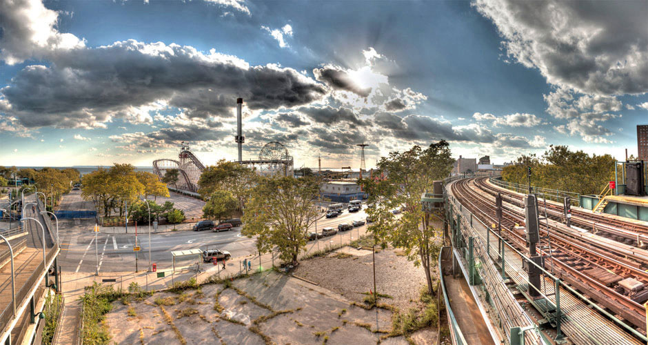 Seth Walters Panorama HDR New York Coney Island Train